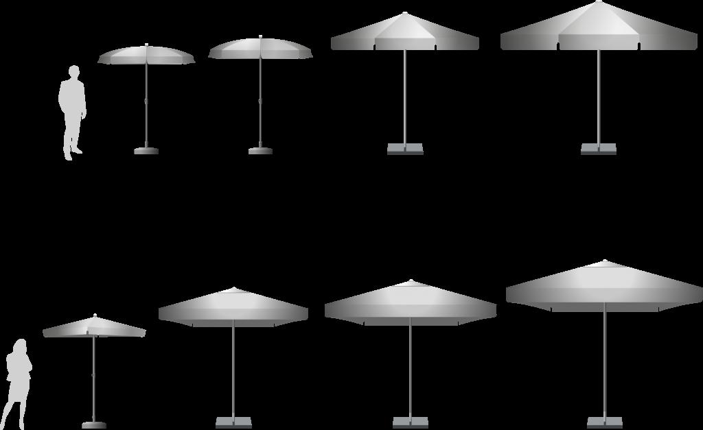 größen und formen von bedruckten werbeschirmen